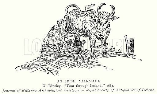 An Irish Milkmaid. Illustration from A Short History of the English People by J R Green (Macmillan, 1892).