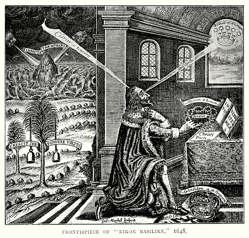 """Frontispiece of """"Eikon Basilike,"""" 1648. Illustration from A Short History of the English People by JR Green (Macmillan, 1892)."""