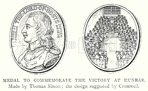 Medal to Commemorate the Victory at Dunbar. Illustration from A Short History of the English People by J R Green (Macmillan, 1892).