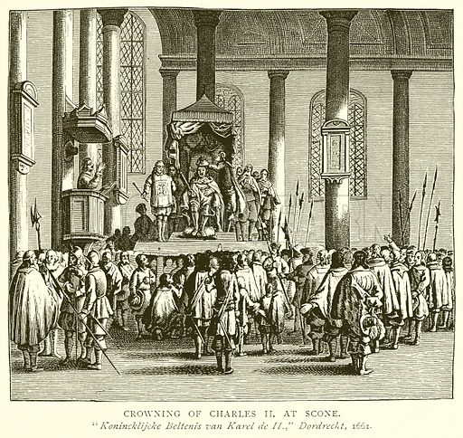 Crowning of Charles II at Scone. Illustration from A Short History of the English People by JR Green (Macmillan, 1892).