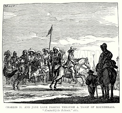 Charles II and Jane Lane passing through a Troop of Roundheads. Illustration from A Short History of the English People by J R Green (Macmillan, 1892).