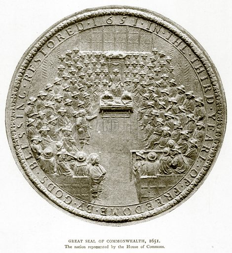 Great Seal of Commonwealth, 1651. Illustration from A Short History of the English People by J R Green (Macmillan, 1892).
