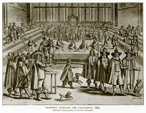 Cromwell Expelling the Parliament, 1653. Illustration from A Short History of the English People by J R Green (Macmillan, 1892).