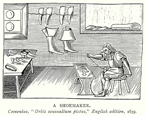 A Shoemaker. Illustration from A Short History of the English People by J R Green (Macmillan, 1892).