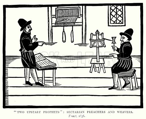 """Two Upstart Prophets"": Sectarian Preachers and Weavers. Illustration from A Short History of the English People by J R Green (Macmillan, 1892)."