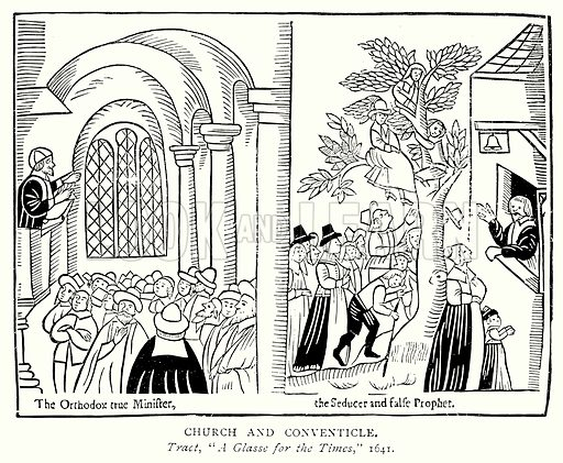Church and Conventicle. Illustration from A Short History of the English People by J R Green (Macmillan, 1892).