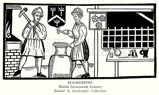Blacksmiths. Illustration from A Short History of the English People by JR Green (Macmillan, 1892).