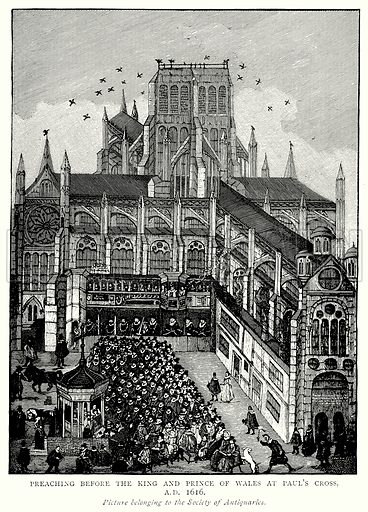 Preaching before the King and Prince of Wales at Paul's Cross, A.D. 1616. Illustration from A Short History of the English People by J R Green (Macmillan, 1892).