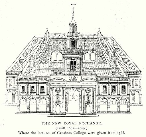 The New Royal Exchange. Illustration from A Short History of the English People by J R Green (Macmillan, 1892).