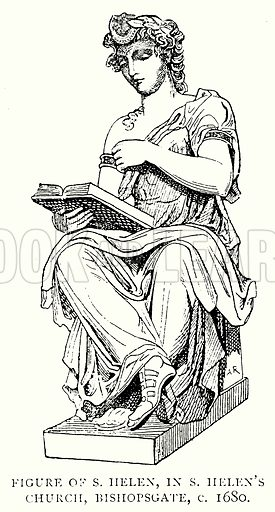 Figure of S. Helen, in S. Helen's Church, Bishopsgate, c. 1680. Illustration from A Short History of the English People by J R Green (Macmillan, 1892).