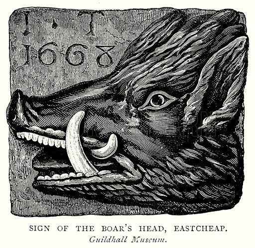 Sign of the Boar's Head, Eastcheap. Illustration from A Short History of the English People by J R Green (Macmillan, 1892).