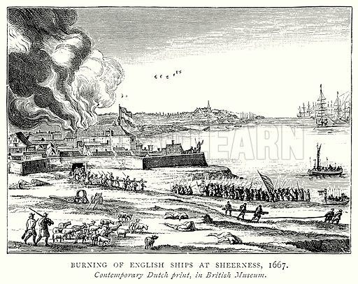 Burning of English Ships and at Sheerness, 1667. Illustration from A Short History of the English People by J R Green (Macmillan, 1892).