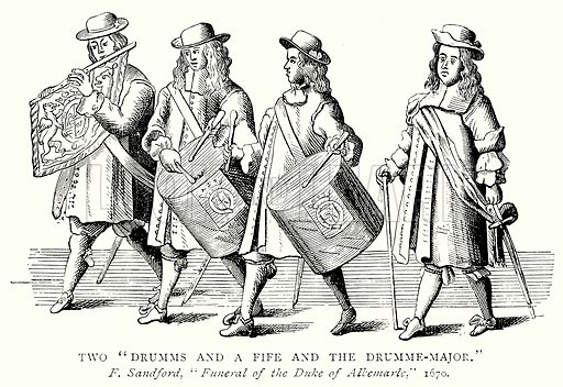 "Two ""Drumms and a Fife and the Drumme-Major."" Illustration from A Short History of the English People by J R Green (Macmillan, 1892)."