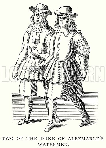 Two of the Duke of Albemarle's Watermen. Illustration from A Short History of the English People by J R Green (Macmillan, 1892).
