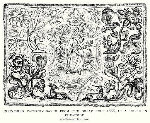 Unfinished Tapestry Saved from the Great Fire, 1666, in a House in Cheapside. Illustration from A Short History of the English People by J R Green (Macmillan, 1892).