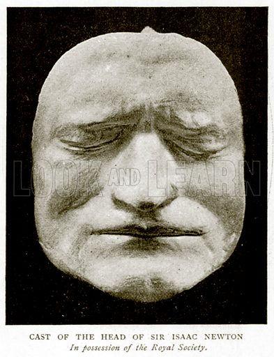 Cast of the Head of Sir Isaac Newton. Illustration from A Short History of the English People by J R Green (Macmillan, 1892).
