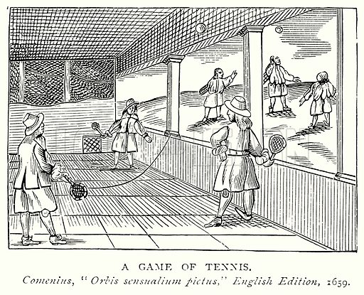 A Game of Tennis. Illustration from A Short History of the English People by J R Green (Macmillan, 1892).