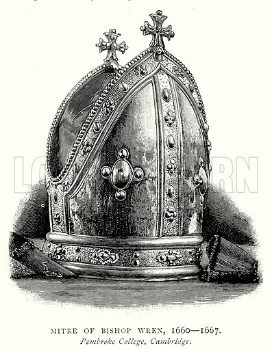 Mitre of Bishop Wren, 1660 – 1667. Illustration from A Short History of the English People by JR Green (Macmillan, 1892).