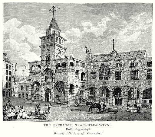 The Exchange, Newcastle-on-Tyne. Illustration from A Short History of the English People by J R Green (Macmillan, 1892).
