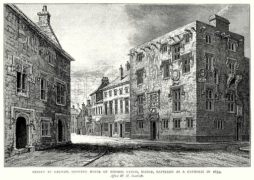 Street in Galway, showing House of Thomas Lynch, Mayor, Expelled as a Catholic in 1654. Illustration from A Short History of the English People by J R Green (Macmillan, 1892).