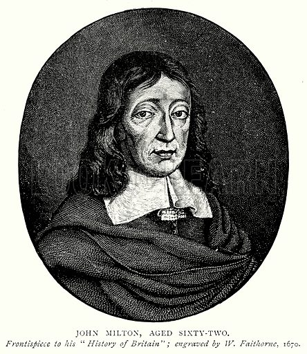 John Milton, aged Sixty-Two. Illustration from A Short History of the English People by J R Green (Macmillan, 1892).