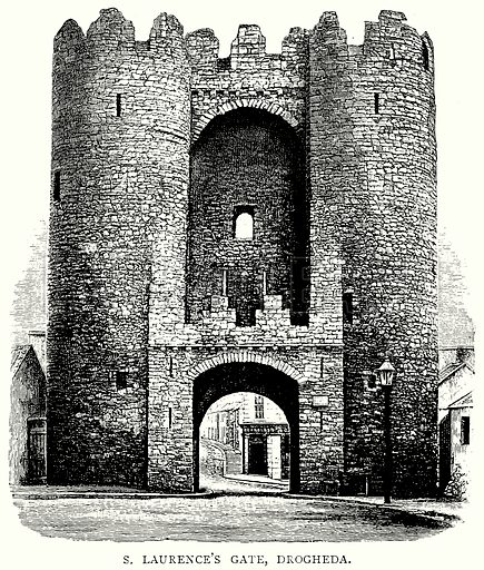 S. Laurence's Gate, Drogheda. Illustration from A Short History of the English People by J R Green (Macmillan, 1892).