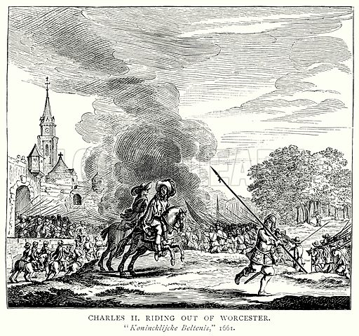 Charles II riding out of Worcester. Illustration from A Short History of the English People by J R Green (Macmillan, 1892).