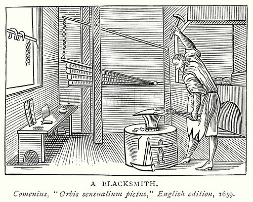 A Blacksmith. Illustration from A Short History of the English People by J R Green (Macmillan, 1892).