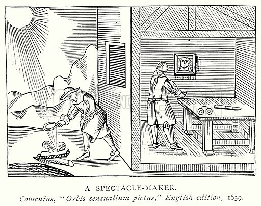 A Spectacle-Maker. Illustration from A Short History of the English People by JR Green (Macmillan, 1892).