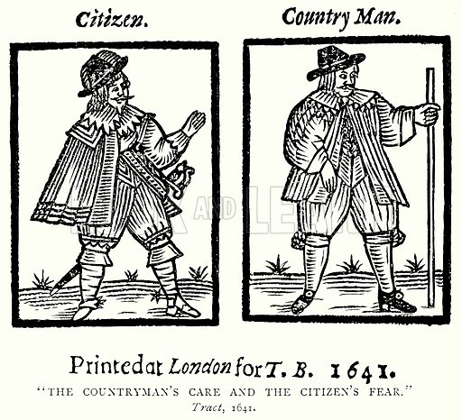 """""""The Countryman's Care and the Citizen's Fear."""" Illustration from A Short History of the English People by J R Green (Macmillan, 1892)."""