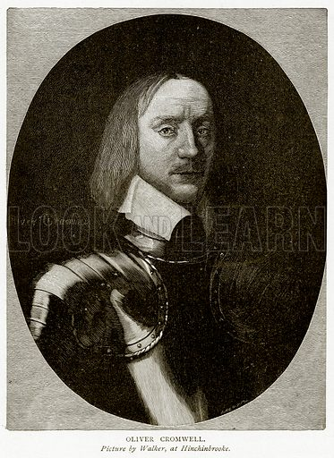 Oliver Cromwell. Illustration from A Short History of the English People by J R Green (Macmillan, 1892).