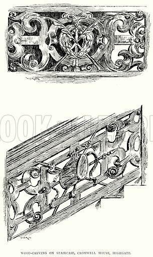 Wood-Carving on Staircase, Cromwell House, Highgate. Illustration from A Short History of the English People by J R Green (Macmillan, 1892).