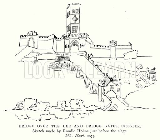 Bridge over the Dee and Bridge Gates, Chester. Illustration from A Short History of the English People by J R Green (Macmillan, 1892).