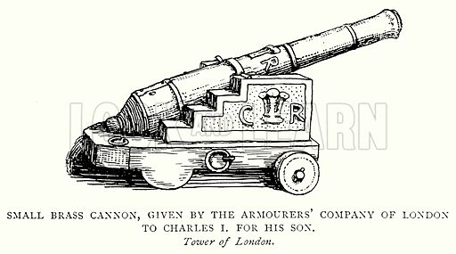 Small Brass Cannon, given by the Armourers' Company of London to Charles I. for his Son. Illustration from A Short History of the English People by J R Green (Macmillan, 1892).
