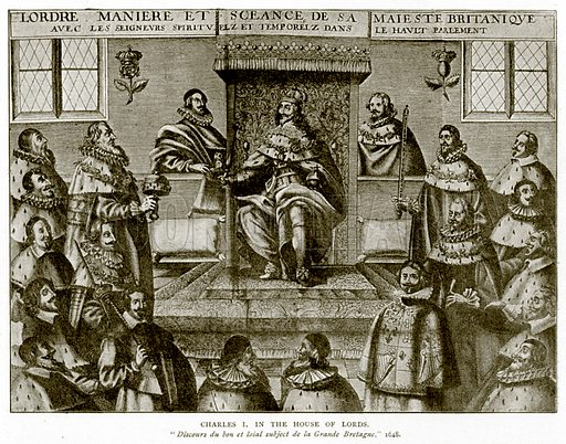 Charles I in the House of Lords. Illustration from A Short History of the English People by J R Green (Macmillan, 1892).