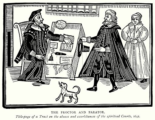 The Proctor and Parator. Illustration from A Short History of the English People by J R Green (Macmillan, 1892).
