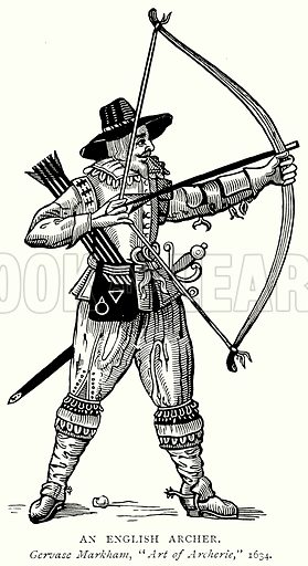 An English Archer. Illustration from A Short History of the English People by J R Green (Macmillan, 1892).