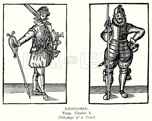 Militiamen. Illustration from A Short History of the English People by J R Green (Macmillan, 1892).