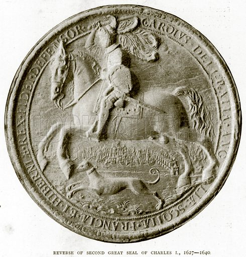 Reverse of Second Great Seal of Charles I, 1627 – 1640. Illustration from A Short History of the English People by JR Green (Macmillan, 1892).