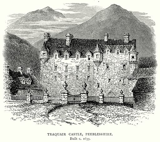 Traquair Castle, Peeblesshire. Illustration from A Short History of the English People by J R Green (Macmillan, 1892).
