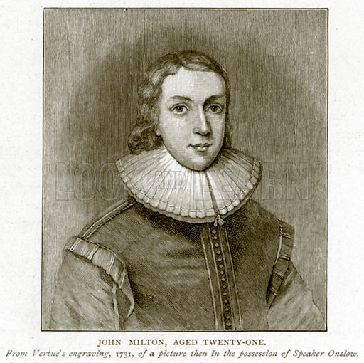 John Milton, aged Twenty-One. Illustration from A Short History of the English People by JR Green (Macmillan, 1892).