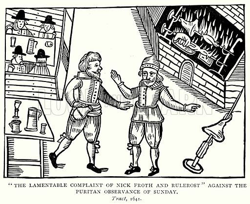 """""""The Lamentable Complaint of Nick Forth and Rulerost"""" against the Puritan Observance of Sunday. Illustration from A Short History of the English People by JR Green (Macmillan, 1892)."""