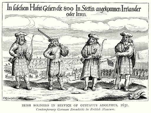 Irish Soldiers in Service of Gustavus Adolphus, 1631. Illustration from A Short History of the English People by J R Green (Macmillan, 1892).
