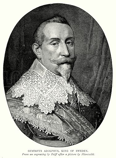 Gustavus Adolphus, King of Sweden. Illustration from A Short History of the English People by JR Green (Macmillan, 1892).