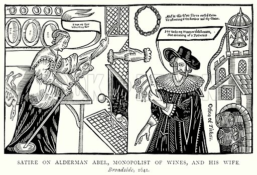 Satire on Alderman Abel, Monopolist of Wines, and his Wife. Illustration from A Short History of the English People by JR Green (Macmillan, 1892).