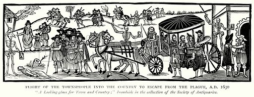 Flight of the Townspeople into the Country to Escape from the Plague, A.D. 1630. Illustration from A Short History of the English People by J R Green (Macmillan, 1892).