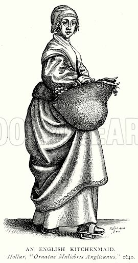 An English Kitchenmaid. Illustration from A Short History of the English People by J R Green (Macmillan, 1892).