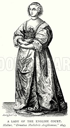 A Lady of the English Court. Illustration from A Short History of the English People by J R Green (Macmillan, 1892).