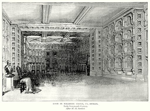 Room in Malahide Castle, Co. Dublin. Illustration from A Short History of the English People by J R Green (Macmillan, 1892).