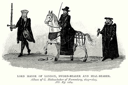 Lord Mayor of London, Sword-Bearer and Seal-Bearer. Illustration from A Short History of the English People by JR Green (Macmillan, 1892).